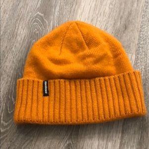 Patagonia orange wool blend winter hat